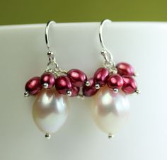 Pearl Drop Earrings with Cranberry pearl cluster by art4ear