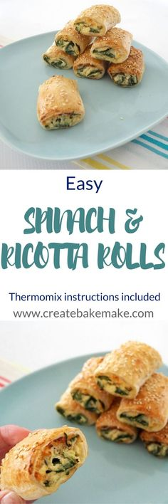 Buddhist vegetarian can remove the onion and garlic ingredients from this recipe. For something a little different to our usual weekend treat of homemade sausage rolls I recently decided to give these easy Spinach and Ricotta rolls a try. Vegetarian Cooking, Vegetarian Recipes, Cooking Recipes, Kid Recipes, Cooking Stuff, Healthy Recipes, Greek Recipes, Lunch Snacks, Healthy Snacks