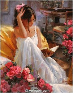 Beautiful young woman reading by Vladimir Volegov, and montage by Jesús Andrés Romero Rojas. Reading Art, Woman Reading, Reading Books, Vladimir Volegov, Illustration Art, Illustrations, Beautiful Paintings, Romantic Paintings, Oeuvre D'art