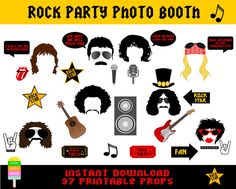 Rock Party Photo Booth Props–37 Pieces-Printable Rock Star Props-Freddie Mercury, Mike Jagger,Jimi Hendrix,Guns N Roses,-Instant Download