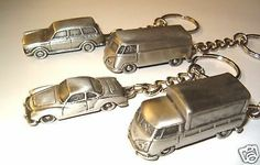 VW Karmann Ghia Bus Van Single Cab Truck Keychain Squareback Type 3 Baja Bug Key