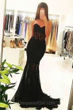 Long Prom Dress, Sweetheart Prom Dresses, Mermaid Evening Dresses, Black Party Dresses, Tulle Formal Dresses