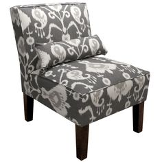 Add an elegant look to your room decor with this gorgeous armless chair. Upholstered in smooth trendy pattern fabric and delicately handcrafted in plush foam padding for added support and comfort. Thi...