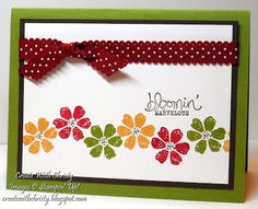 SU! Bloomin' Marvelous stamp set; colors are More Mustard, Cherry Cobbler, Old Olive and Early Espresso - Christy Fulk