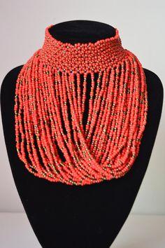 African Maasai Beaded Choker Necklace  African Choker