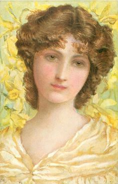 Girl with brown hair and hazel eyes, yellow daffodils in background.  French ~ 1906.