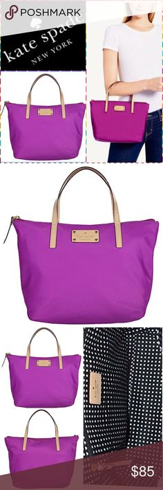 """NWOT Kate Spade NY Tiny Sophie Kennedy Park Tote SGW40 - Item Description: New without tags; - Measures approx: 8 1/2"""" H x 10 W x 5"""" D / Double vachetta leather straps with 4 1/2"""" drop - 100% Nylon Trim: 100% Cow Leather Lining: 100% Cotton / Color: Magenta / nylon bag with leather trim / Top zippered closure with leather pull / KSNY blind embossed signature on leather license plate/ 14-karat light gold plated hardware / Black and white polka dot interior lining with wall zippered pocket and…"""