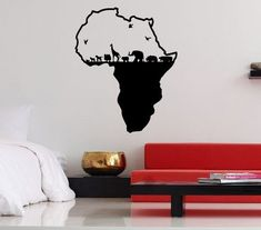 Wall Vinyl Sticker Decals Mural Design Cool Africa Continent Wild Animals Map Birds Elephant Zoo 738 on Etsy, $28.99