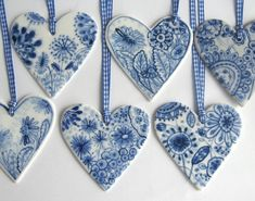 This floral blue and white porcelain heart is decorated in the traditional Dutch Delft technique using cobalt oxide and has a strong transparent Blue And White China, Blue China, Love Blue, Delft, Salt Dough Decorations, Heart Decorations, Christmas Decorations, I Love Heart, Hanging Ornaments