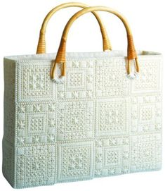 Aran Tote Bag Plastic Canvas Kit by Needlecraft Super Shop Plastic Canvas Stitches, Plastic Canvas Patterns, Plastic Canvas Christmas, Plastic Canvas Crafts, Purse Patterns Free, Embroidery Bags, Canvas Purse, Craft Bags, Handmade Bags