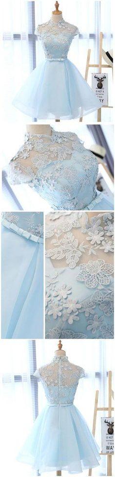 High Neckline Light Blue Cute Homecoming Prom Dresses, Affordable Shor – SposaDesses
