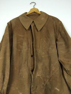 VTG Antique French 1930s Waxed Duck Cotton Rail Road SNCF Jacket Chore Workwear | eBay