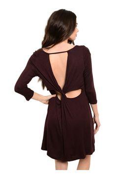 Oversize 3/4 Sleeve Tunic Dress W/ Back Cutout