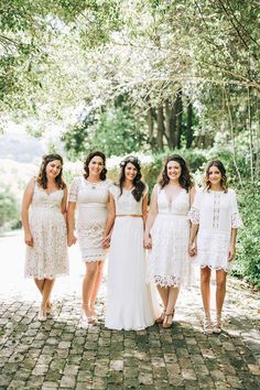 Mismatched white cocktail bridesmaid dresses for rustic boho wedding | Raconteur Photography