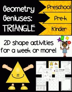 Geometry Geniuses: Triangle  This item includes enough activities to last a week or more! Perfect for toddlers, preschoolers, Pre-k, Kindergarten, PPCD, and Special Education.  Items included:  Pg. 5  Poster Pg. 6  Song Pg. 7  I Can Sing and Trace Pg. 8  Play-dough Mat Pg. 9  Shape Wand Pg. 10  Dot the Shape Pg. 11  Stamp the Shape Pg. 12  I Can Trace the Shape Pg. 13  I Can Draw the Shape Pg. 14  I Can Cut and Glue the Shape Pg. 15  I Can Find the Shape Pg. 16  I Can Color the Shape Pgs…