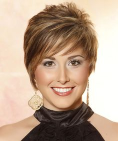 Casual Short Straight Hairstyle (front.) This short funky 'do is cut short and close to the head around the sides and back blending into the top which is jagged cut to achieve texture and height. This highlighted hairstyle is great to balance out a round face and will need product for hold and shine. Face Shape: Round, Oval, Heart, and Triangular.