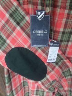 CREMIEUX Red Gray Orange $79 Plaid ELBOW Patches Mens Shirt New Washed Large L  #Cremieux #ButtonFront