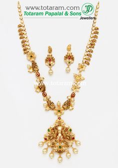 22K Gold 'Peacock' Long Necklace&Earrings Set With Ruby - GS2513 - Indian Jewelry from Totaram Jewelers