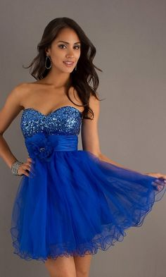 Short A Line Chiffon Royal Blue Dress Strapless Jewels Empire ...