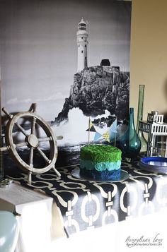 Nautical themed party decor ideas in Blues and Greens