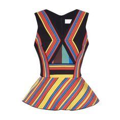 Peter Pilotto Hendrix multi-striped peplum top ($281) ❤ liked on Polyvore featuring tops, outfits, shirts, black multi, pattern shirt, print shirts, neon shirts, striped peplum top and print top
