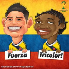 james y cuadrado Colombia Mundial 2014 caricatura Lionel Messi, Colombian Art, James Rodriguez, Fifa World Cup, Soccer Players, Art World, Ronald Mcdonald, Chibi, Animation