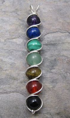 MultiStone Chakra Sterling Silver Wire Wrapped by KimsJewels, $20.00