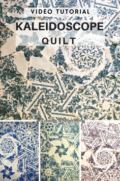 Video tutorial: quick and easy kaleidoscope quilt Quilting Tips, Quilting Tutorials, Quilting Projects, Quilting Designs, Quilting Board, Modern Quilting, Patchwork Tutorial, Panel Quilts, Quilt Blocks
