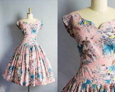 1950s Pink Floral Cotton Dress/ Small 36B/26W