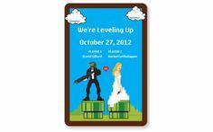 8-bit fun Wedding Invitation Postcard...save the date