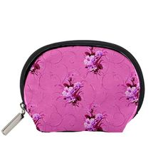 Pink+Floral+Pattern+Accessory+Pouches+(Small)++Accessory+Pouch+(Small)
