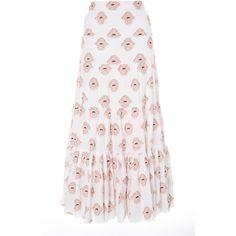 Peasant Flower Skirt | Moda Operandi ($520) ❤ liked on Polyvore featuring skirts, suit, tiered peasant skirt, high waist skirt, pink high waisted skirt, tiered skirt and high-waist skirt