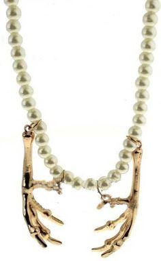 Gold Skeleton Hand Pearls Necklace - Sheinside.com