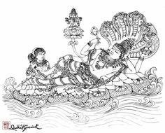 Mahavishnu — Divyakala - Art Inspired by the Divine Kerala Mural Painting, Tanjore Painting, Krishna Painting, Krishna Art, Hare Krishna, Kalamkari Painting, Krishna Images, Outline Art, Outline Drawings