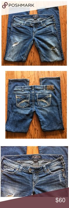 Silver Jeans -Tuesday Size  31 x33 Silver Tuesday Low Rise Bootcut Jeans True Blue Wash. Super Stretch.  EXCELLENT CONDITION  One of Silver's Online Best Sellers. The straight fit perfects your shape & enhances your curves even if you don't have any. Silver Jeans Jeans Boot Cut