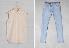 sleeveless button-up blouse + light wash denim skinny jeans