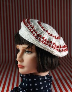 Red & White _ crocheted #tam, #50s #vintage inspired style