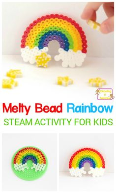 Kids can boost pattern skills, design skills, and fine motor skills with this super-fun and super-colorful Perler bead rainbow!