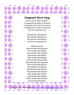 Free Compound Word Song with Pictures from Drowning in Applesauce on TeachersNotebook.com -  (6 pages)  - An original compound word song and picture prompts. *Freebie Alert*