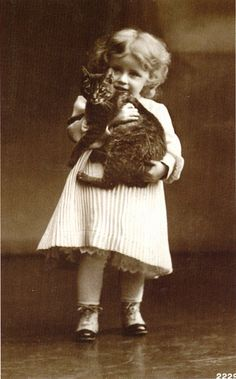 +~+~ Antique Photograph ~+~+    Portrait of another cat getting squished by a loving girl ;)