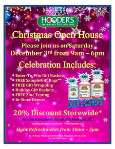 Christmas Open House, Gift Baskets, Free Gifts, Gift Wrapping, Events, Healthy, Holiday, Gift Wrapping Paper, Vacations