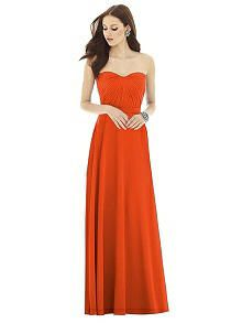 Alfred Sung D727 Long Strapless Circle Skirt - Quarry | The Dessy Group