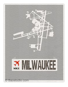 Fly me to Milwaukee MKE - World Traveler Series Milwaukee Wisconsin International Airport Code Runway Map Aviation Art Print Poster