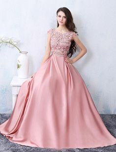 Chic A-line Scoop Pink Satin Applique Modest Prom Dress Evening Dress AM398
