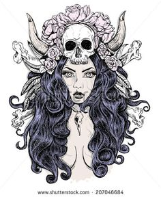 Beautiful woman with long hair and horns, rose, skull