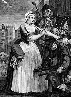 "1735. Detail of ""The Rake's Progress, Plate 4"" by William Hogarth. 18th century English women's clothing."