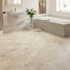 Versatile stone inspired flooring that can be finished with a Mackintosh border Da Vinci Spirito Limestone used in a Bathroom Karndean Vinyl Flooring, Vinyl Wood Flooring, Luxury Vinyl Tile Flooring, Beautiful Bathrooms, Modern Bathroom, Waterproof Bathroom Flooring, Limestone Flooring, Travertine, Staircase Storage