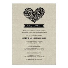 #weddinginvitation #weddinginvitations (Wedding Rehearsal and Dinner | Black Rustic Card) #Dinner #Heart #Linen #Monogram #Poem #Rehearsal #Rustic #Verse #Wedding #Whimsical is available on Custom Unique Wedding Invitations  store  http://ift.tt/2bbhFTw