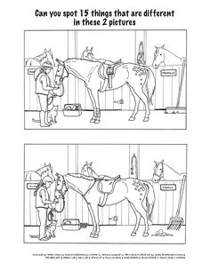 Test Your Observation in the horse stable. Can you find all the ways the pictures are different? Looks closely and you will find them all. Perfect for any horse lover.