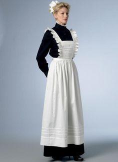 Misses' Historical Dress, Maid, House-Hold Servant Uniform, Mrs. Victorian Aprons, Victorian Maid, Aprons Vintage, Edwardian House, Apron Pattern Free, Maid Uniform, Maid Outfit, Costume Design, Harajuku